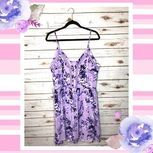 JustFab purple floral spaghetti strap dress XXL